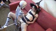 Скелет трахает - порно гифки