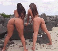 Задницы в бикини - порно гифки